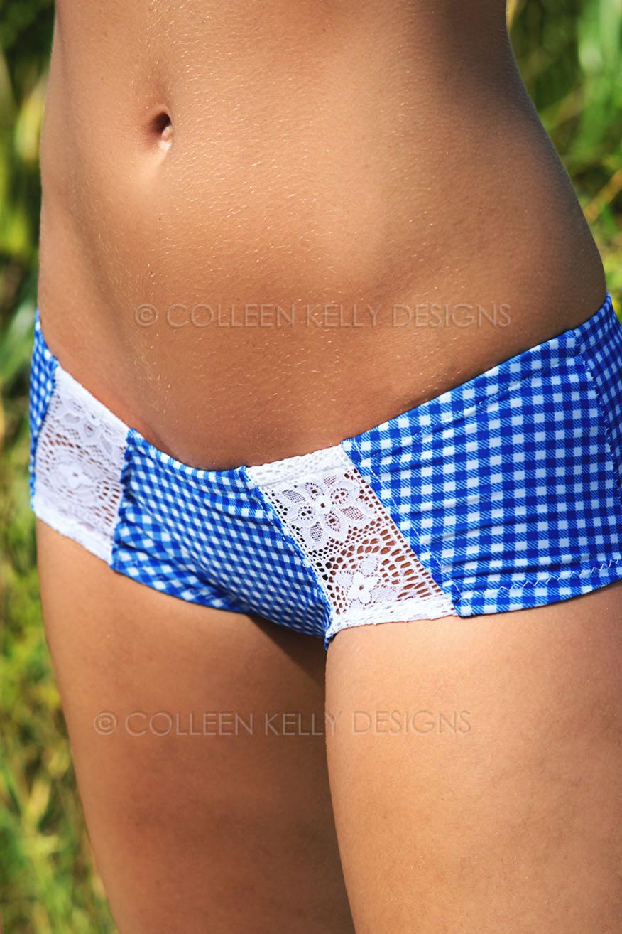 Colleen Kelly Designs Swimwear Style #1913 Image of Hearts & Lace Hot Pants Two-Piece