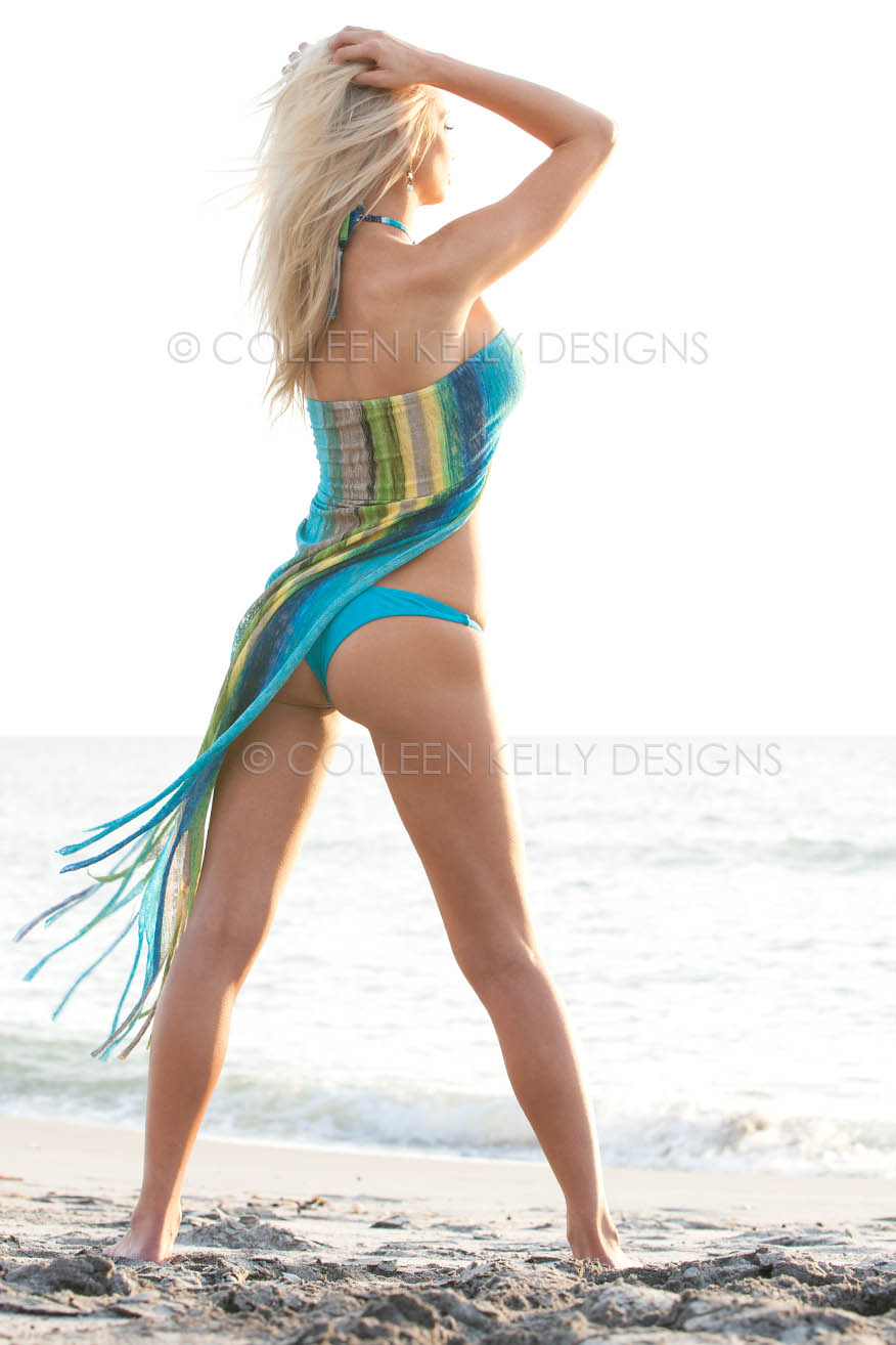 Colleen Kelly Designs Swimwear Style #2201 Image of Fringe Knit Wrap-Kini