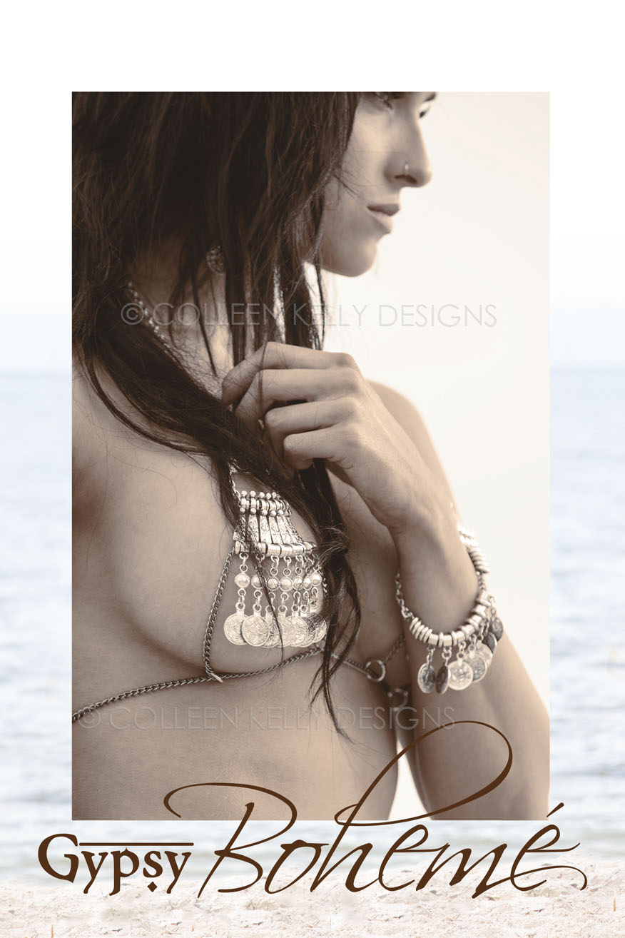 Colleen Kelly Designs Swimwear Style #2235 Image of Boho Coin Bracelet and Earrings Set