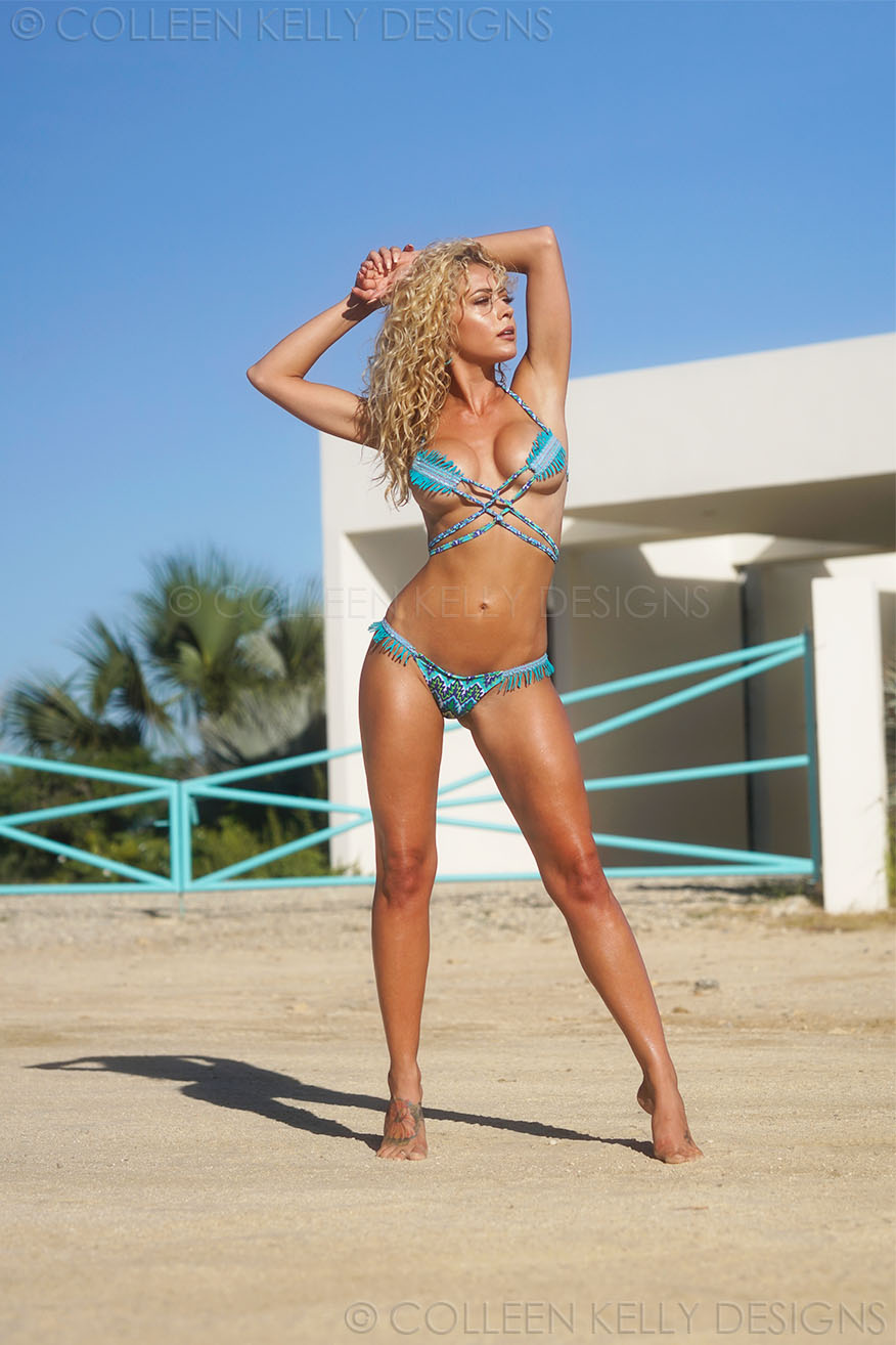 Colleen Kelly Designs Swimwear Style #2523 Image of Fringelette Criss Cross-Kini