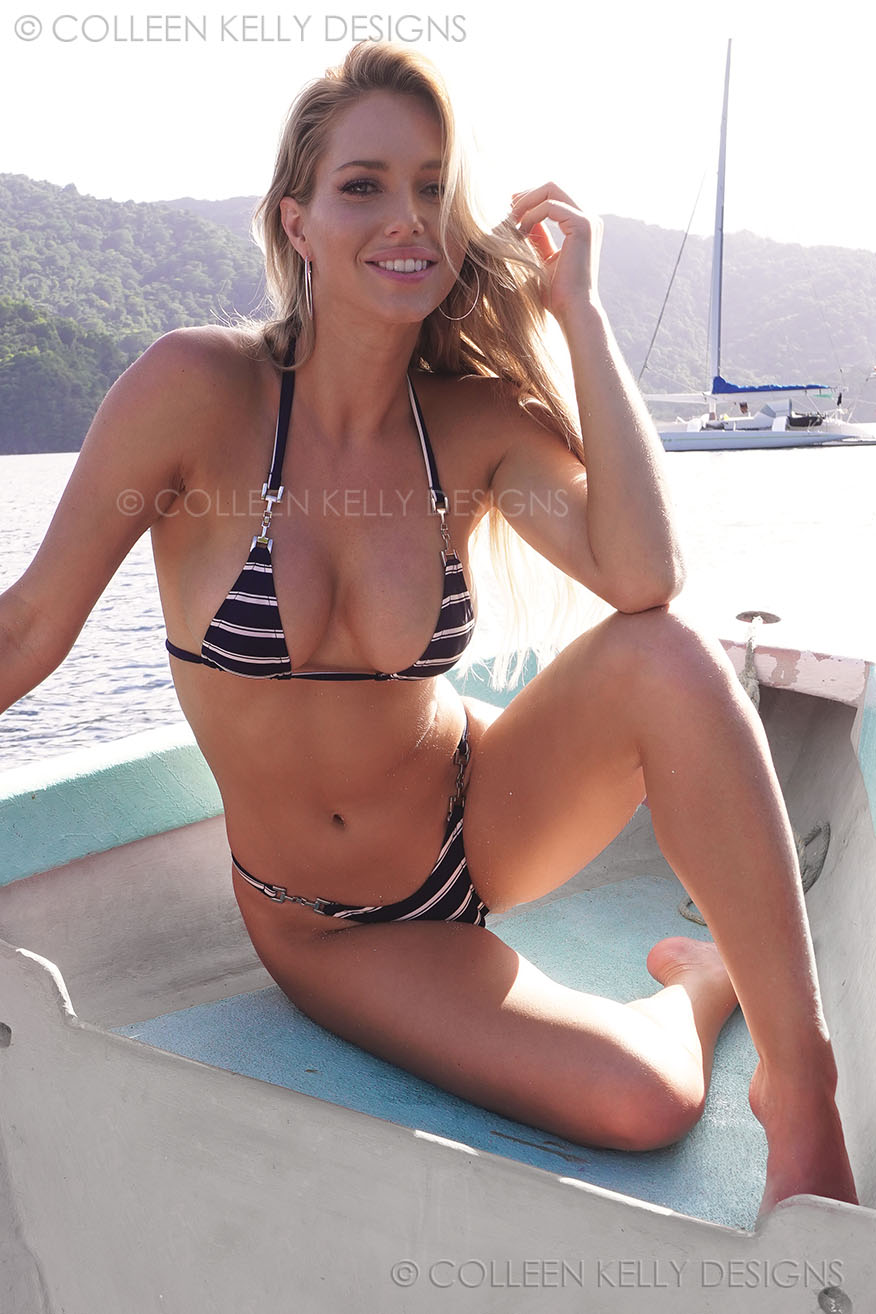 Colleen Kelly Designs Swimwear Style #2606 Image of Nautical Strap-Side Microkini