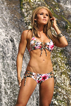 Colleen Kelly Designs Swimwear Image: Tropical Lace-up Shorts Bikini