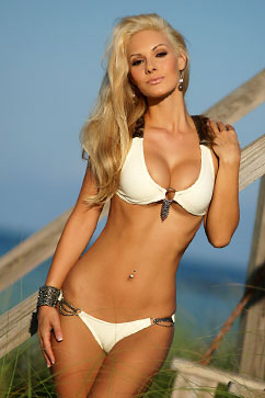 Colleen Kelly Designs Swimwear - Image: Fur Trim Halterkini Bikini
