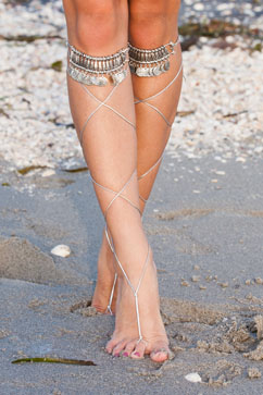 Colleen Kelly Designs Swimwear Image: Boho Strappy Coin Toe Sandals
