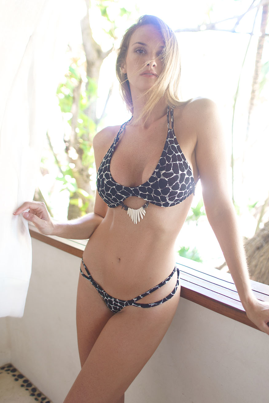 Colleen Kelly Designs Swimwear Image: Jungle Lace Spikey Halterkini