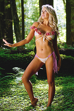 Colleen Kelly Designs Swimwear Image: Fluffy Flowers Criss-Cross-Kini