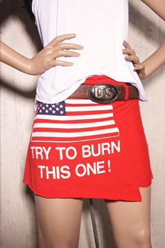 Colleen Kelly Designs Swimwear Image: Try to Burn This One! Flag T-Skirt